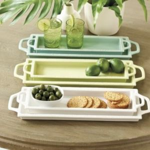 Set of 2 Green Ballard Designs Rectangular Trays